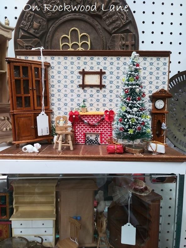 Miniature Christmas tree scene