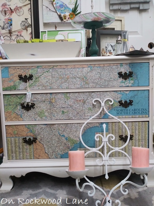 Dresser decoupaged with a map of North and South Carolina