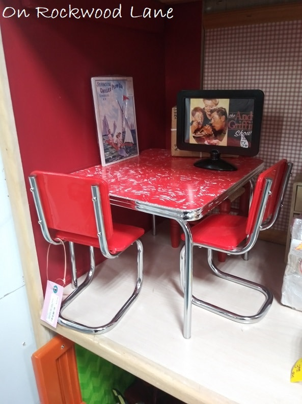 """red 18"""" doll dining table and chairs"""