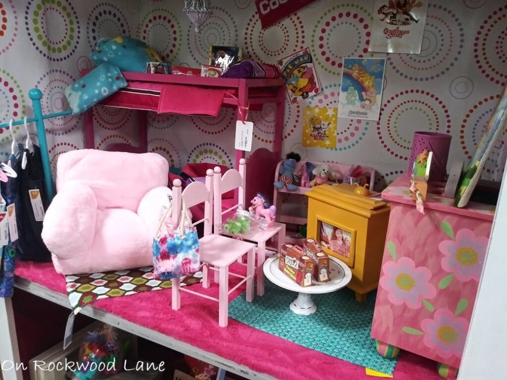 """pink and blue 18"""" doll bedroom set"""
