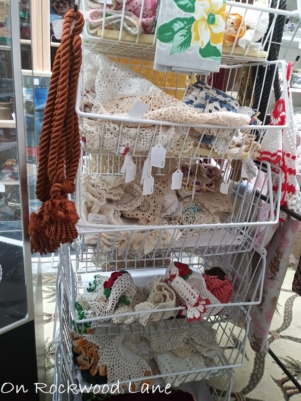 Baskets full of crocheted doilies