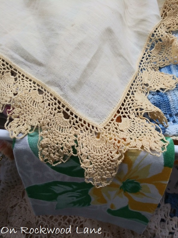 handmade hanky with crocheted edge of pineapple stitch