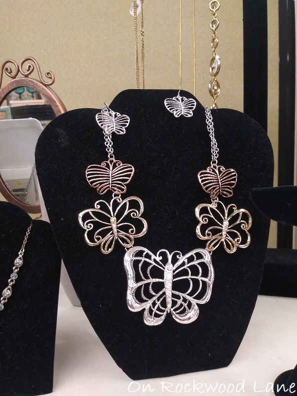 butterfly statement necklace and matching earrings