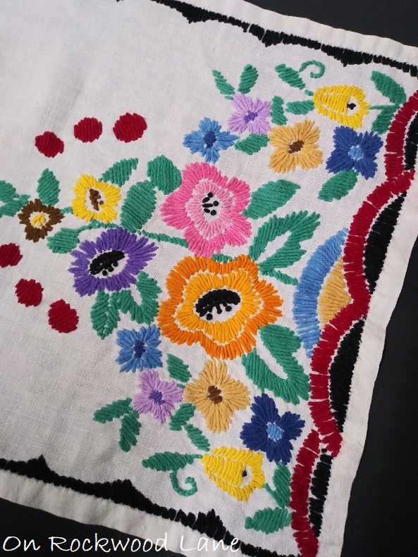 Hand embroidered floral table runner