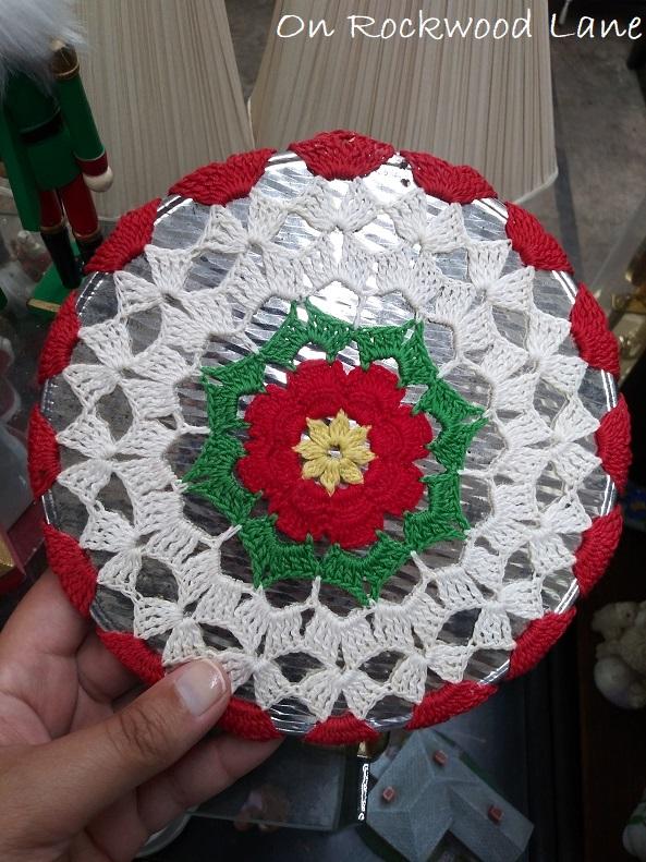 Crocheted Christmas themed trivet