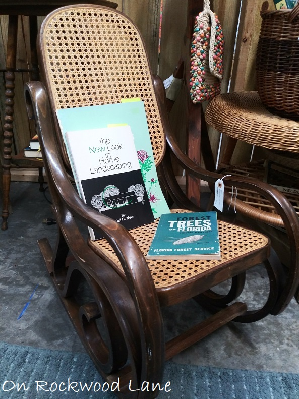 Child's size wicker rocking chair with the New Look in Home Landscaping book and Forest Trees of Florida book