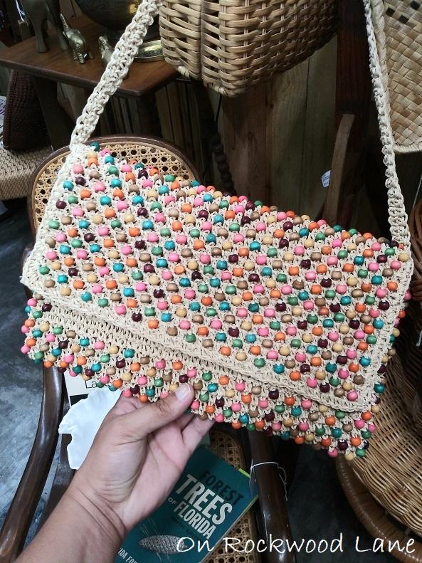 Colorful beaded crochet handbag