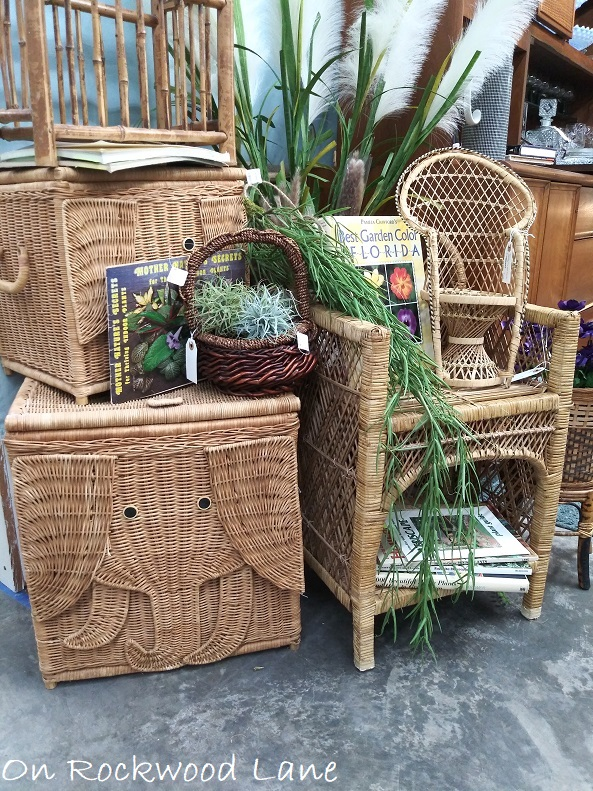 two elephant wicker baskets