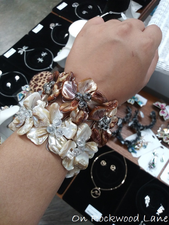 brown and cream mother of pearl floral cuff bracelets