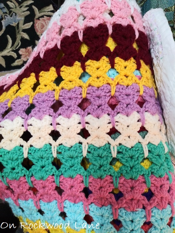 colorful crocheted cat stitch afghan