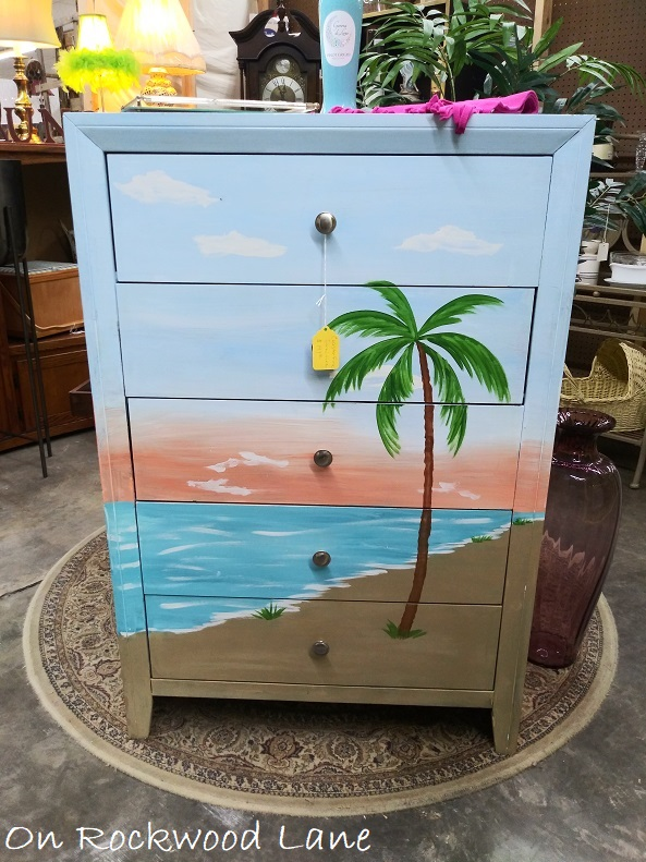 hand painted dressed with ocean and palm tree