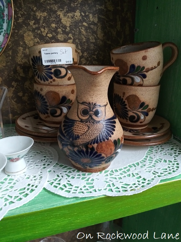 tolana pottery set with cute navy blue owl print
