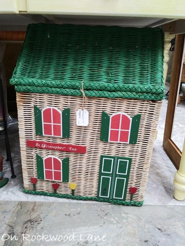 St Christopher Inn green and white wicker basket