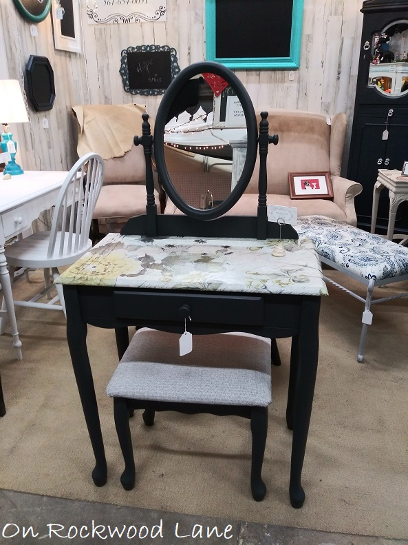 black and gray upcycled vanity