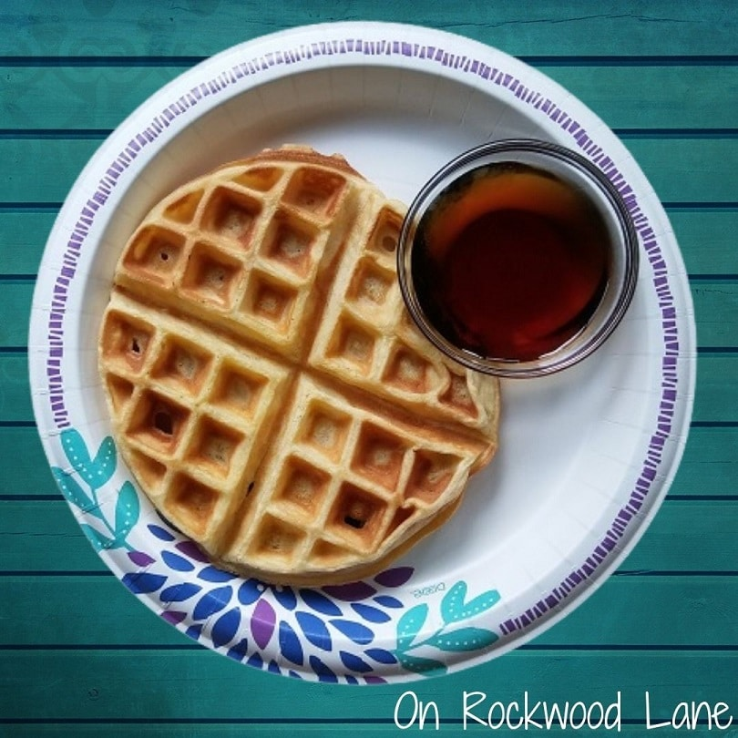 Cake mix waffle on floral plate with a small bowl of syrup