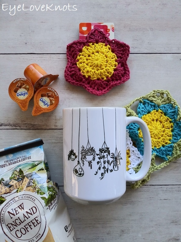 pink and yellow floral gift card holder from EyeLoveKnots, hanging plants coffee mug, hazelnut coffee creamers, On Rockwood Lane