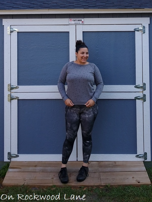 athleisure outfit with gray long sleeve sweater, black active leggings and black sneakers On Rockwood Lane