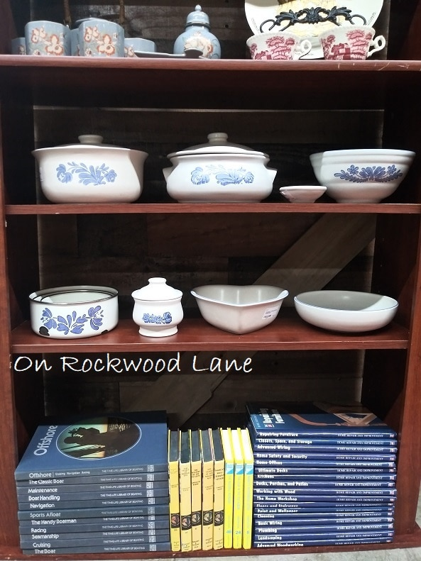 Vintage Pfaltzgraff Yorketowne Stoneware displayed on a shelf, On Rockwood Lane