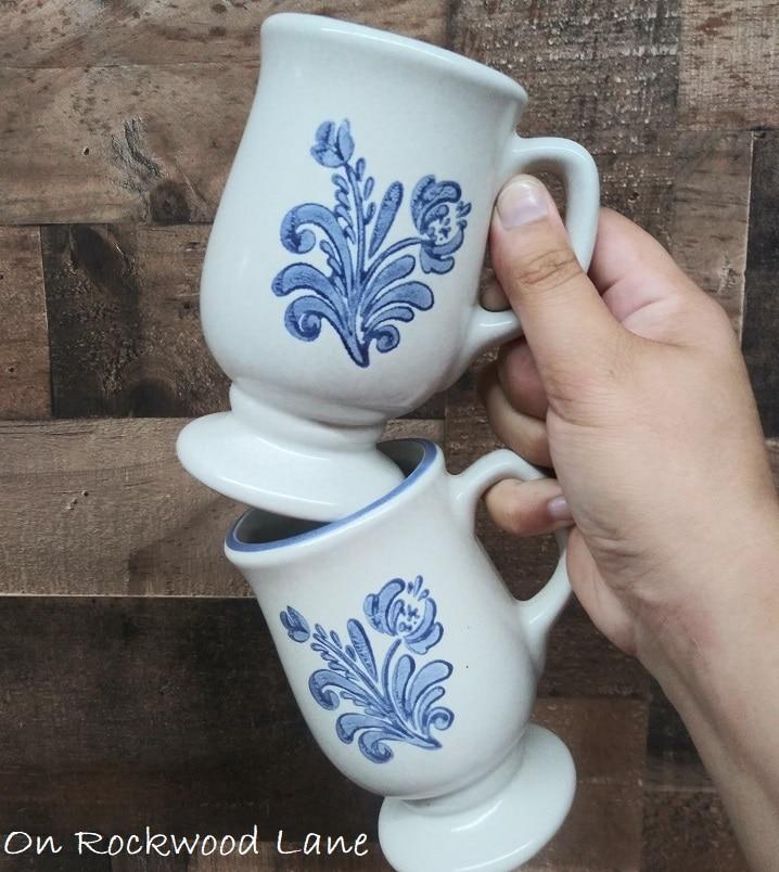 Vintage Pfaltzgraff Yorketowne Footed Coffee Mugs, On Rockwood Lane
